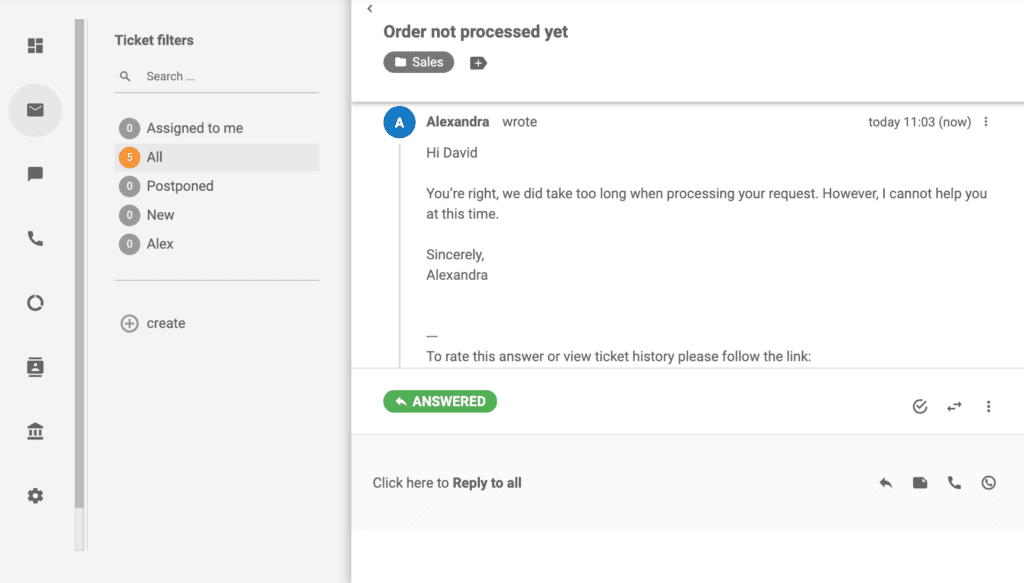 LiveAgent - ticket answered