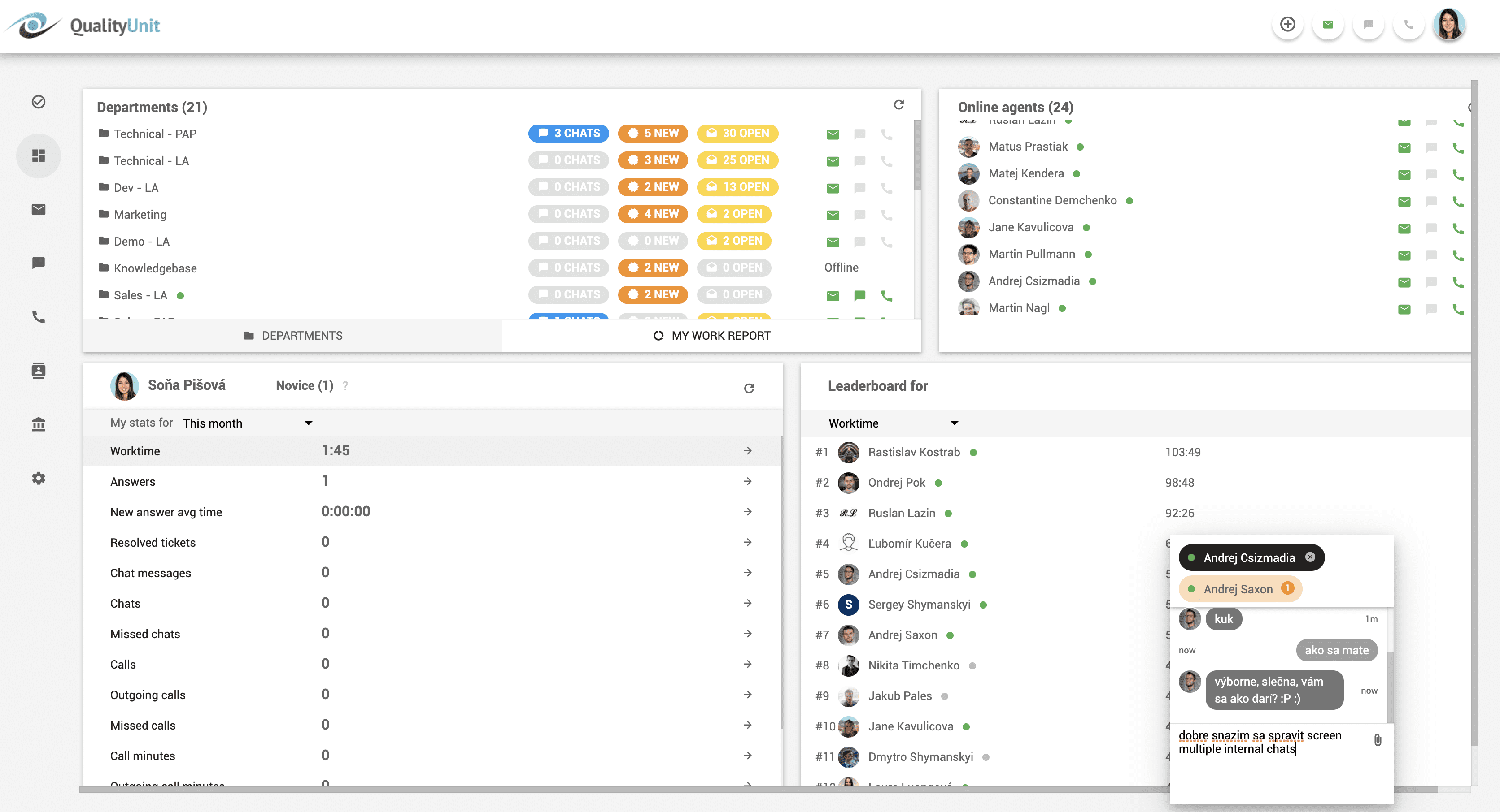 Multiple internal chats with agents