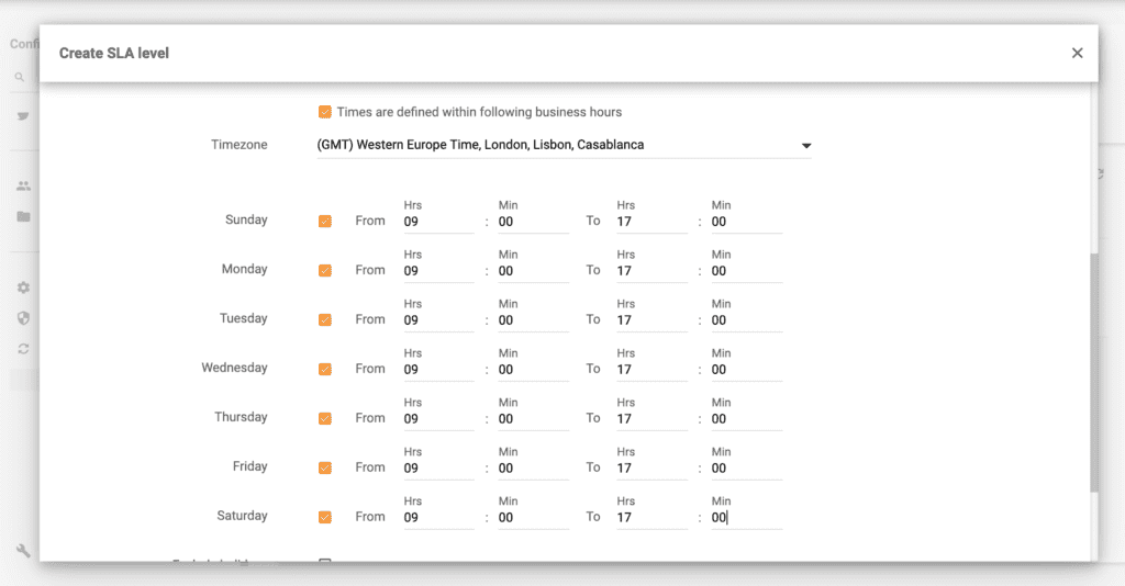 LiveAgent Business hours example
