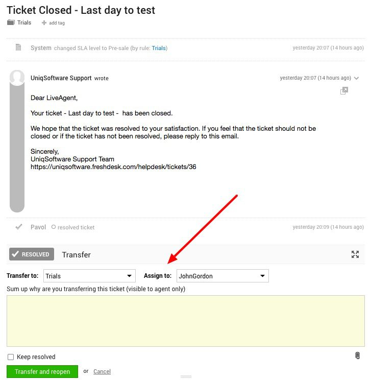 Assign ticket