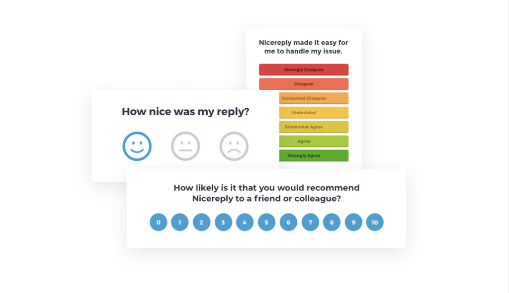 three different types of survey formats by nicereply