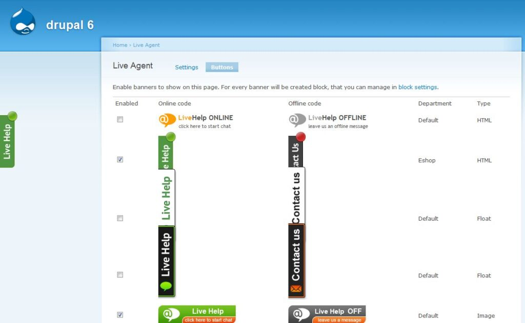 LiveAgent live chat button templates shown in Drupal