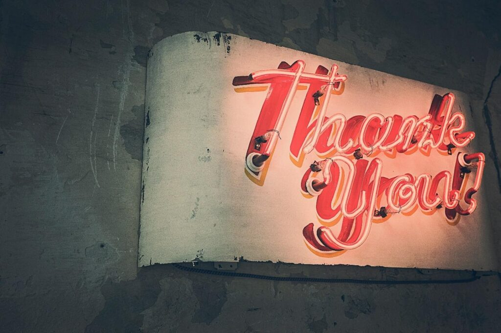thank you sign in neon