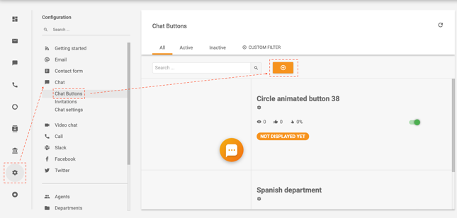 Steps to create a Chat button in LiveAgent