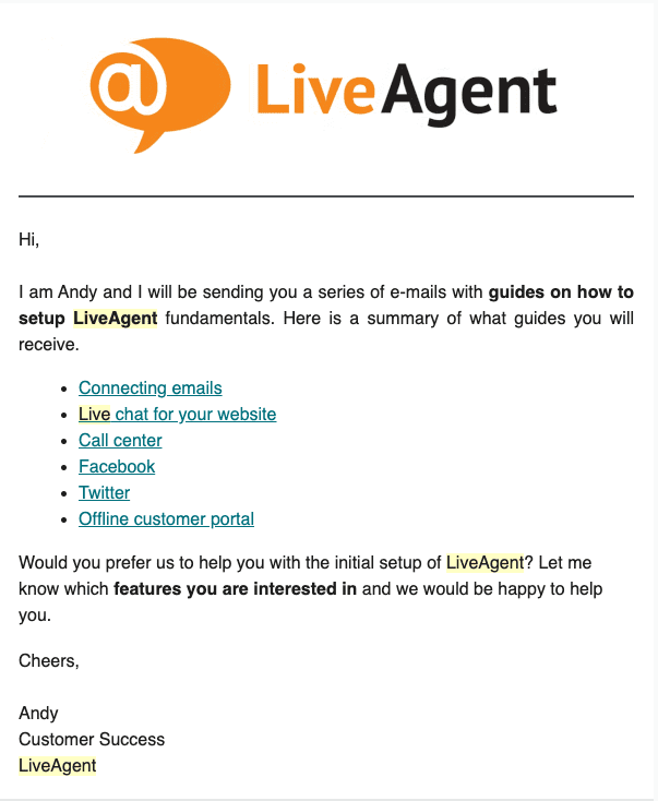 LiveAgent onboarding email