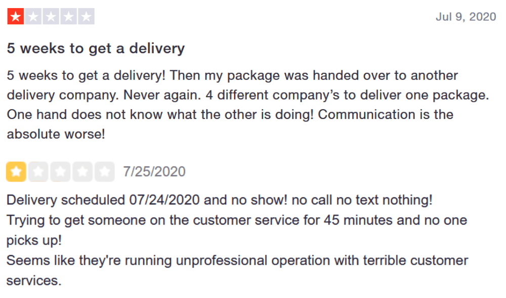 Customer service and logistics negative reviews