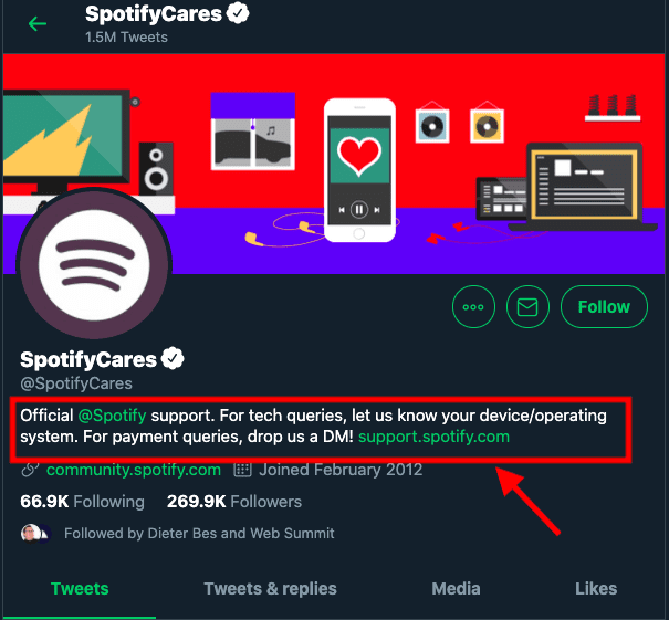 Spotify Twitter account