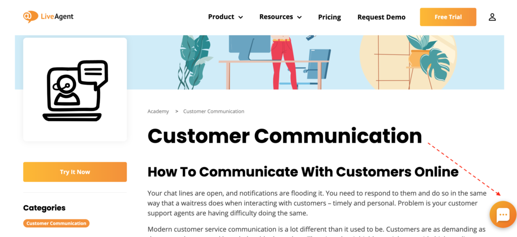 customer-communication-live-chat-button-placement