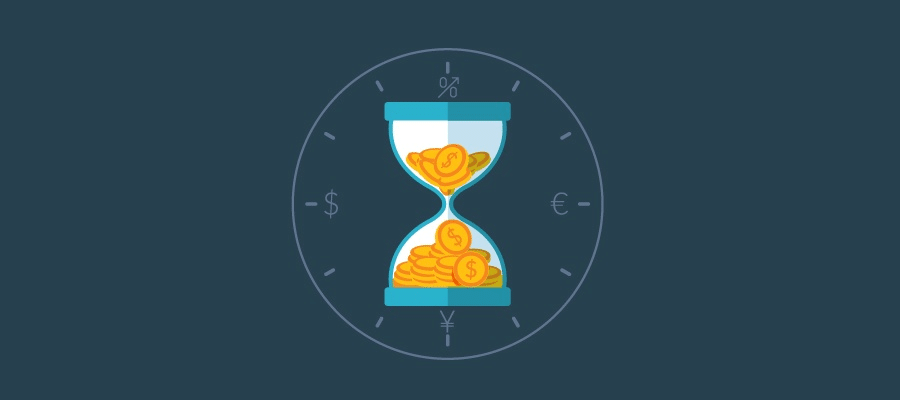 hourglass and coins