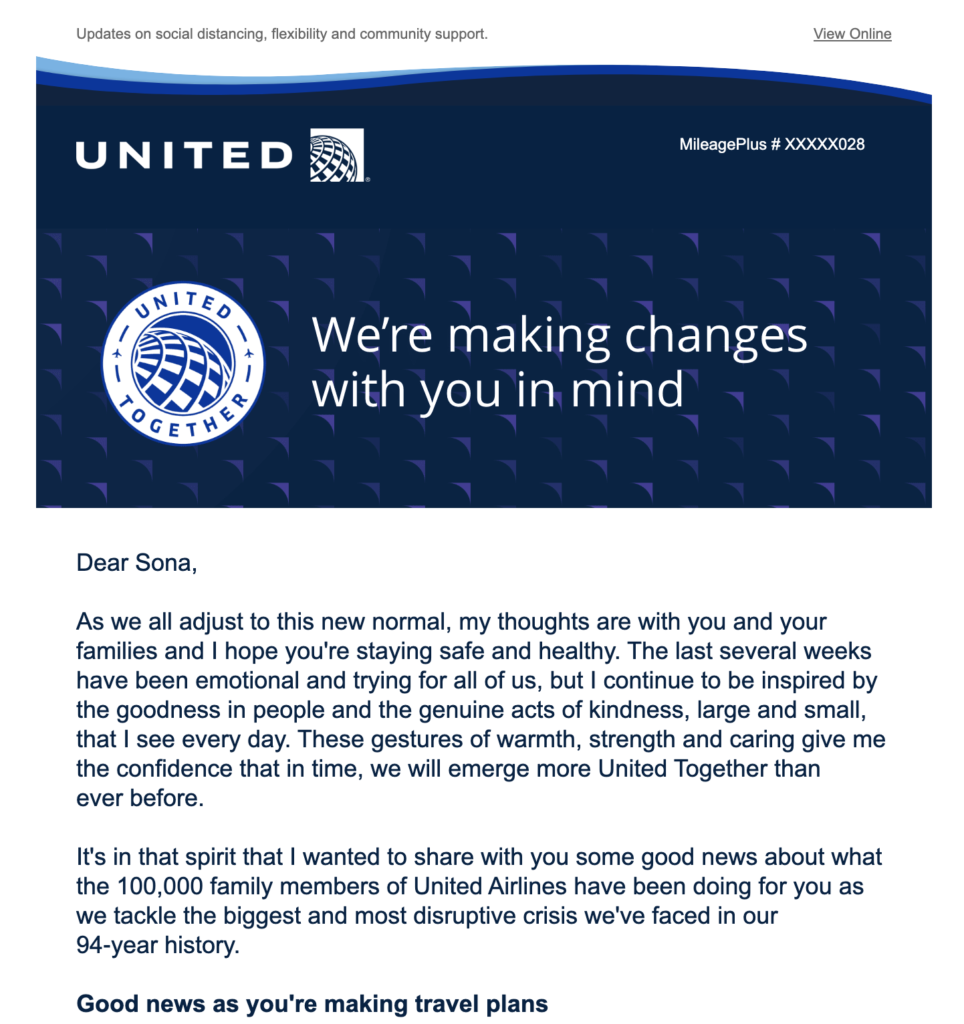 United Airlines informative email 2