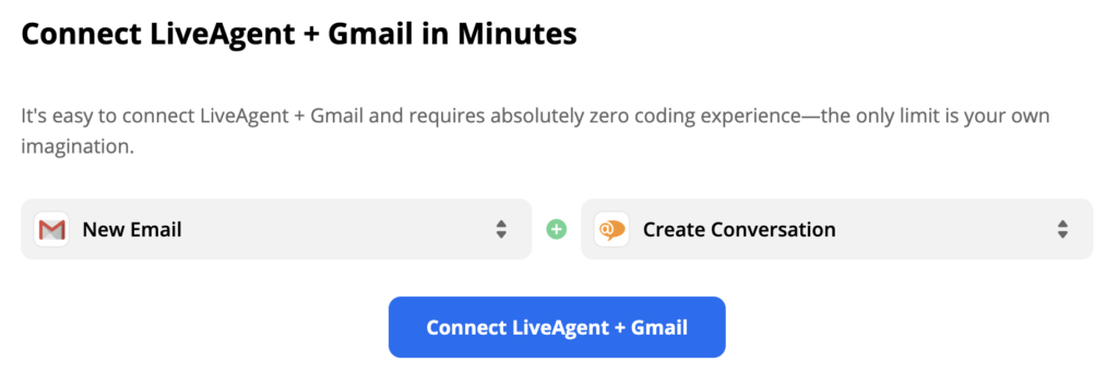 LiveAgent and Gmail with trigger New Email and action Create Conversation