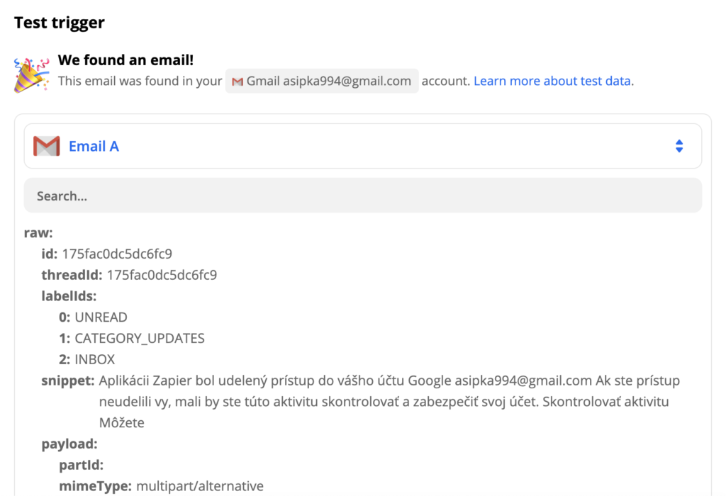 Gmail trigger test example