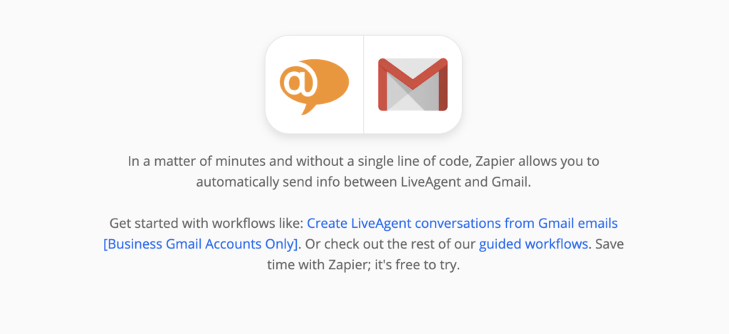 Explanation of LiveAgent and Gmail integration on Zapier