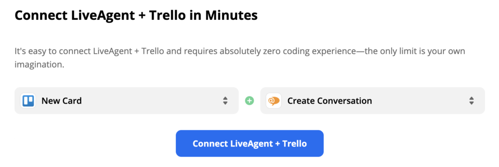 Trello trigger New Card with LiveAgent action New Conversation