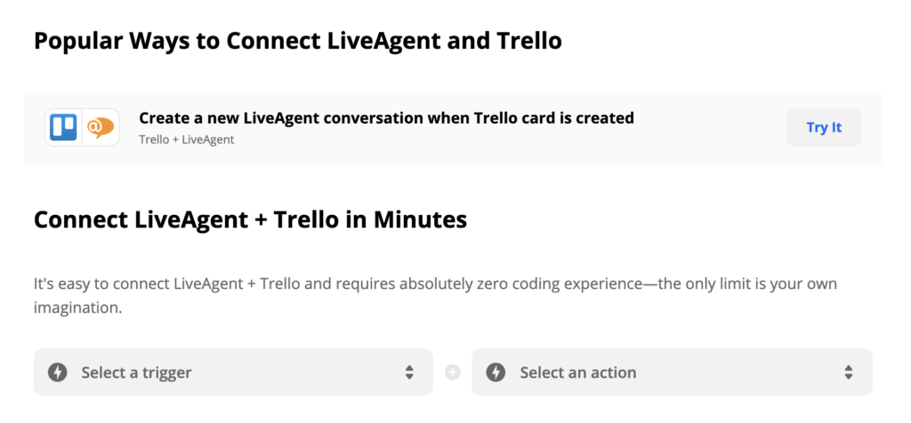 LiveAgent and Trello integration on Zapier with Trigger and Action selection