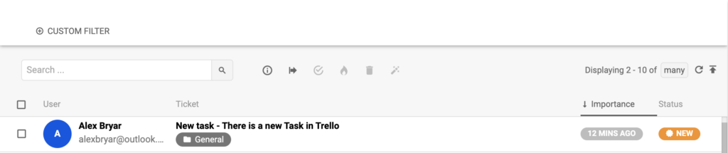 A new conversation in LiveAgent triggered by Trello integration