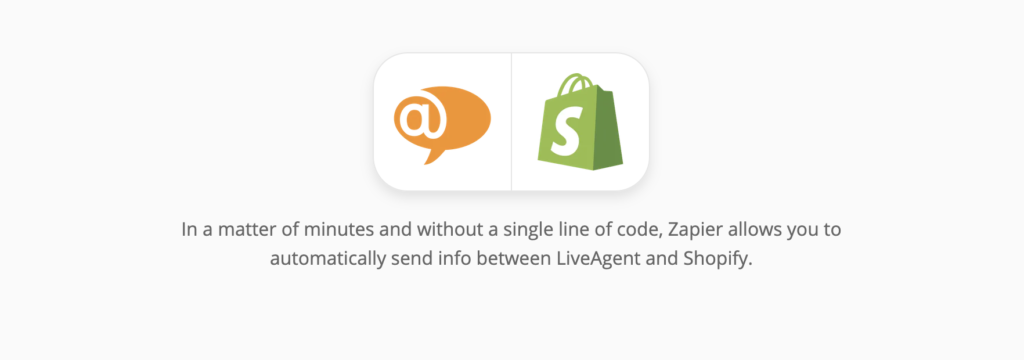 LiveAgent and Shopify integration page on Zapier