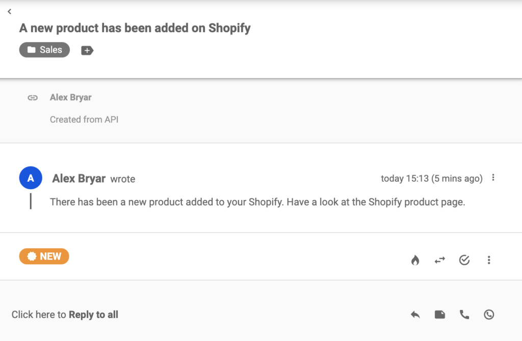 A new ticket that has been sent from Shopify after creating a product