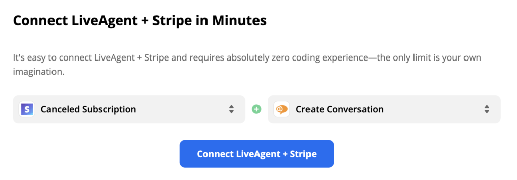 An example of a selected Stripe trigger and LiveAgent action