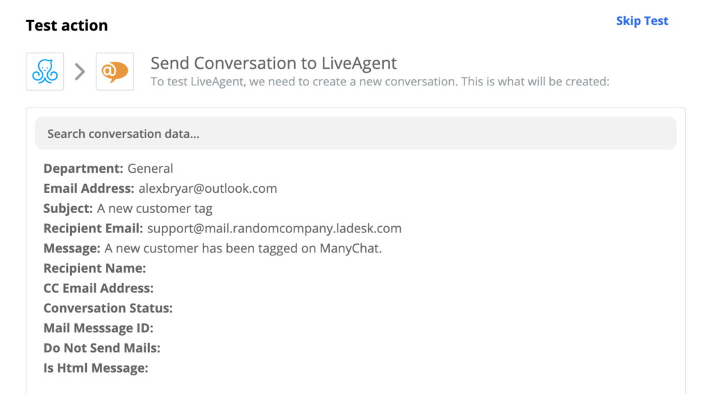 Successful test of a ManyChat and LiveAgent integration