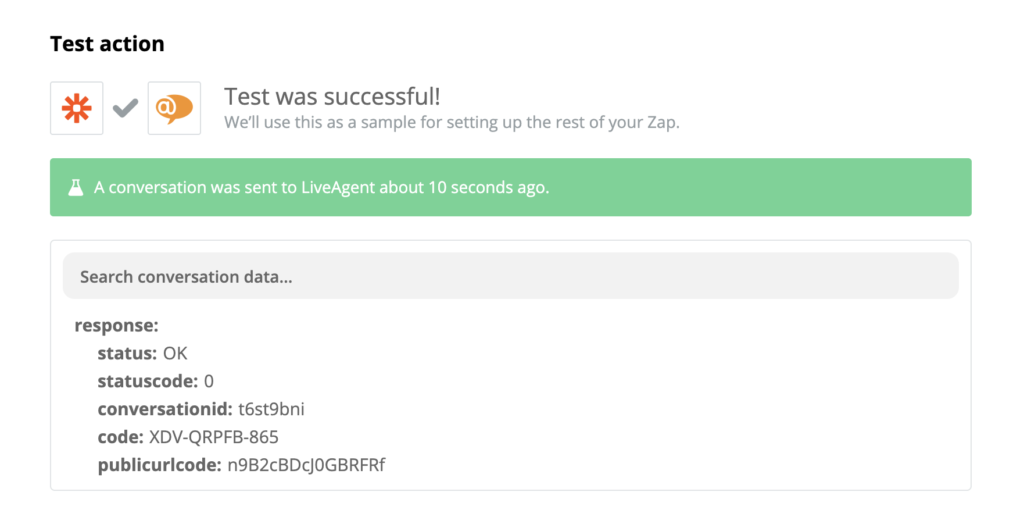A successful test of a Stripe and LiveAgent integration
