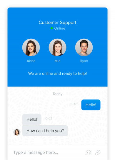 Chaport live chat session with customer