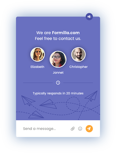 Formilla live chat start window