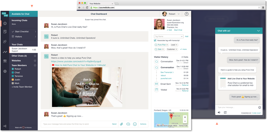 Pure Chat agent view of ongoing live chat