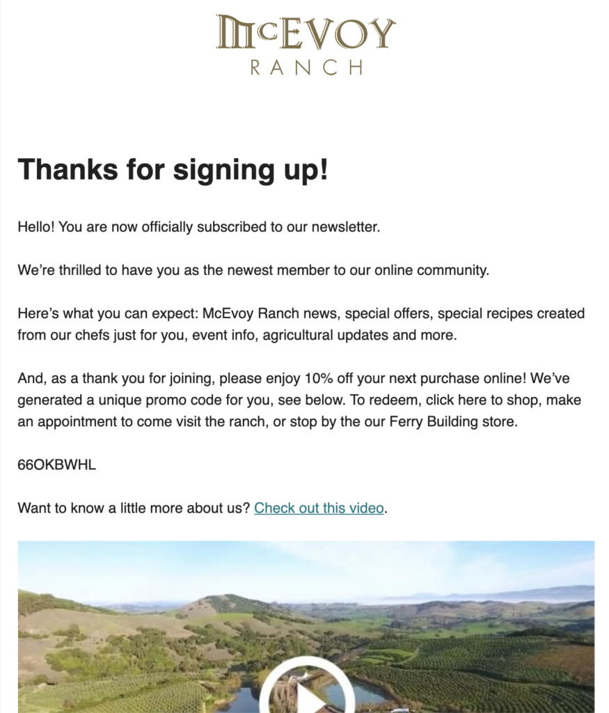 McEvoy ranch newsletter sign up email