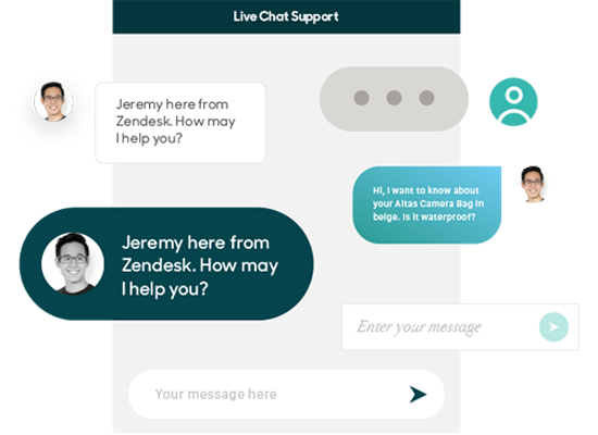 Customer view of ongoing live chat in Zendesk