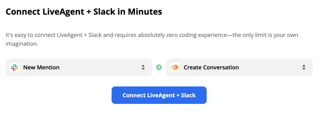Slack trigger New Mention and LiveAgent action Create Conversation on Zapier