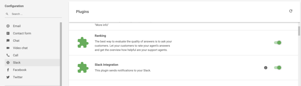 Active Slack integration in LiveAgent plugin section