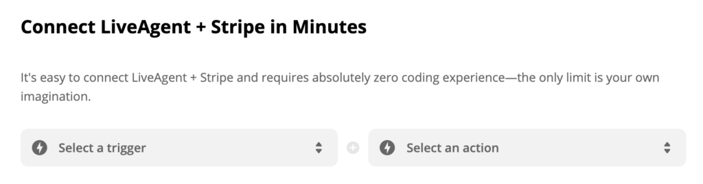 Trigger and action selection on Zapier's Strip and LiveAgent integration page