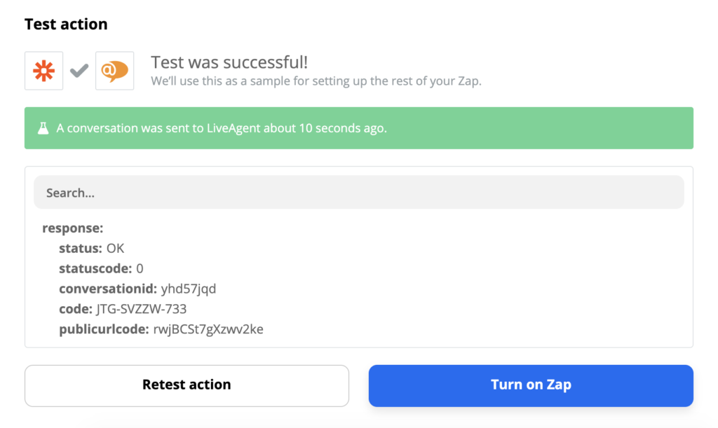 Successful test of a LiveAgent and Slack integration on Zapier
