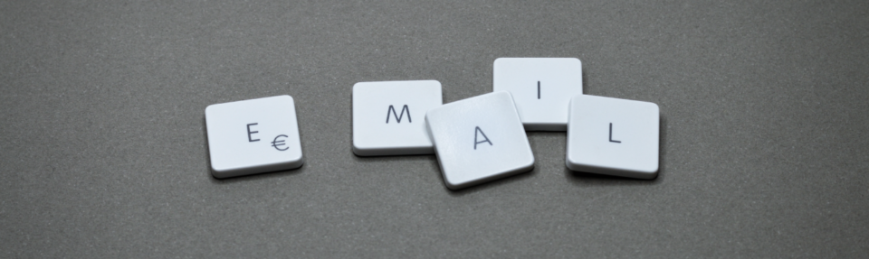Word email spelled out from keystrokes