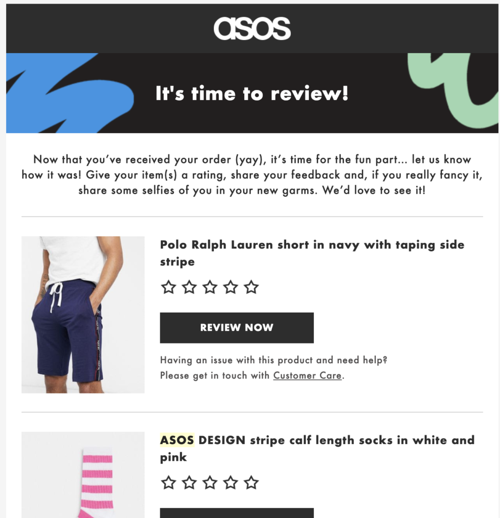 Asos post-purchase email template