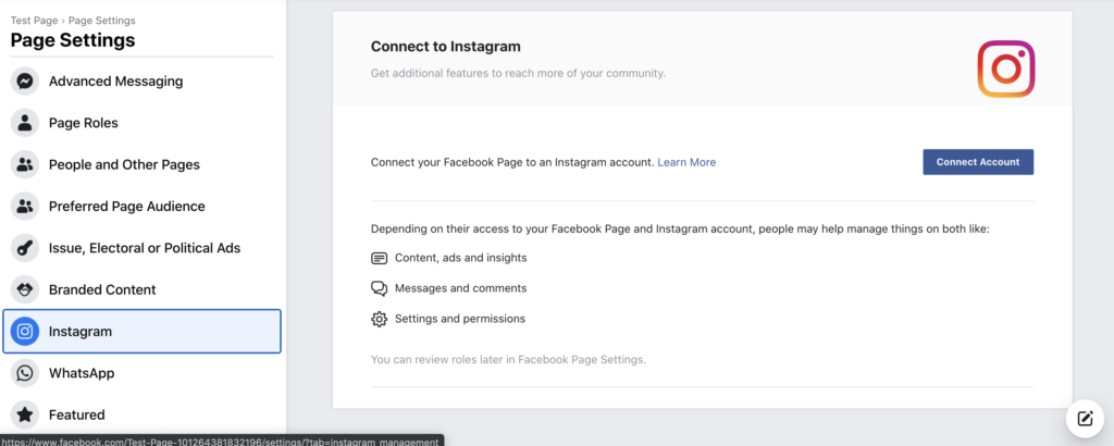 Instagram settings on Facebook, connecting an Instagram page to your Facebook page