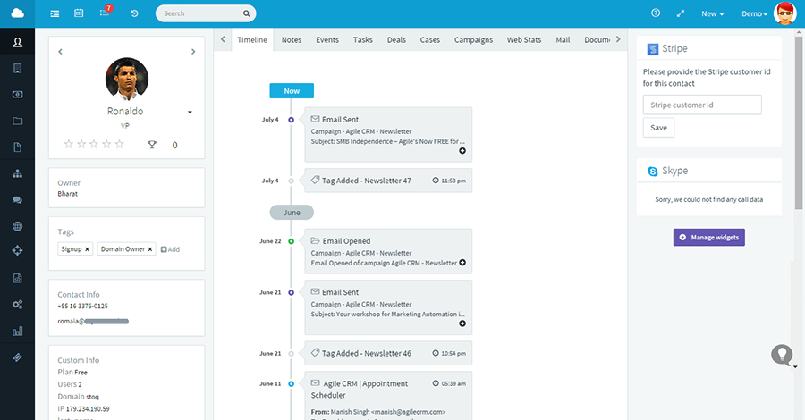 Agile dashboard showing contact details and timeline