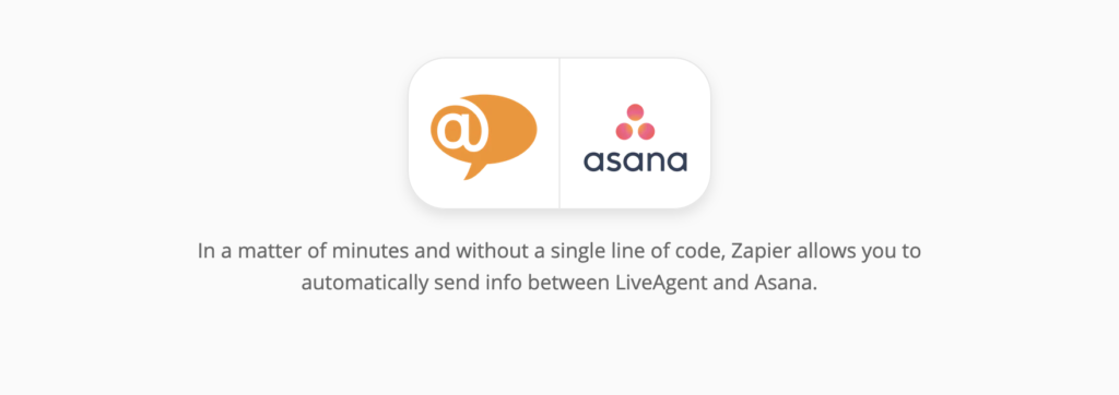 LiveAgent and Asana integration page on Zapier