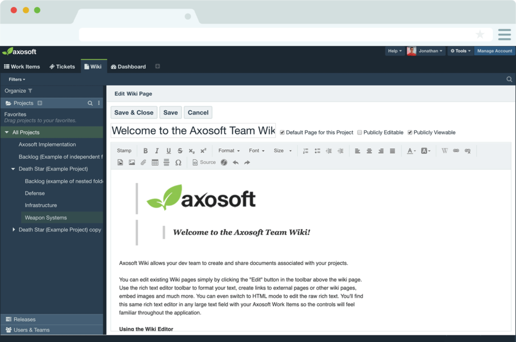 Creating Wiki page in Axasoft