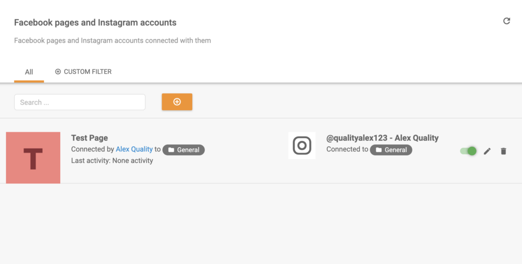 Instagram connected to LiveAgent