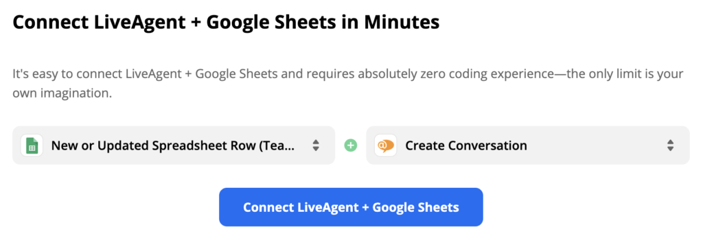 Selected Google Sheets trigger and LiveAgent action