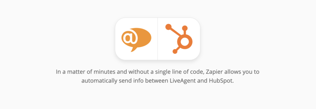 HubSpot and LiveAgent integration page on Zapier