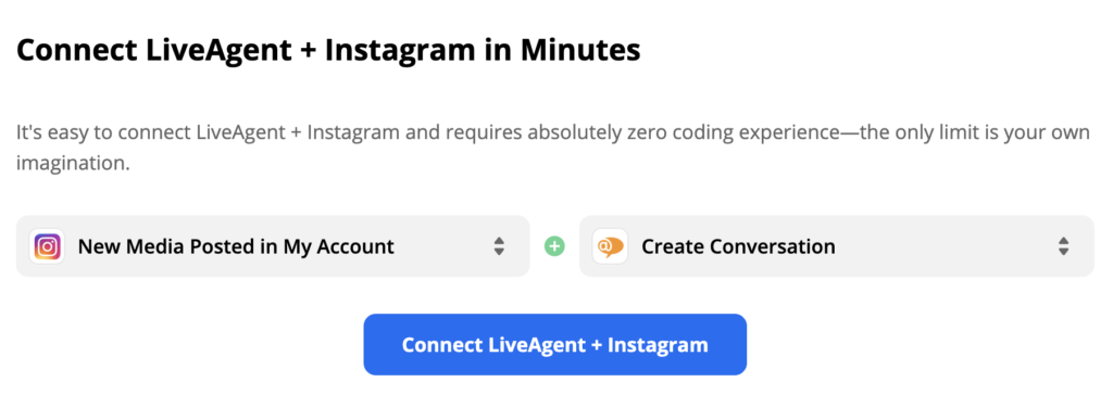 Selected Instagram trigger and LiveAgent action