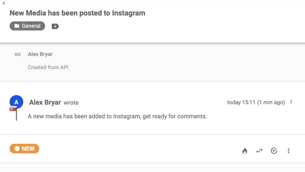 Instagram message about a new post in LiveAgent ticketing system