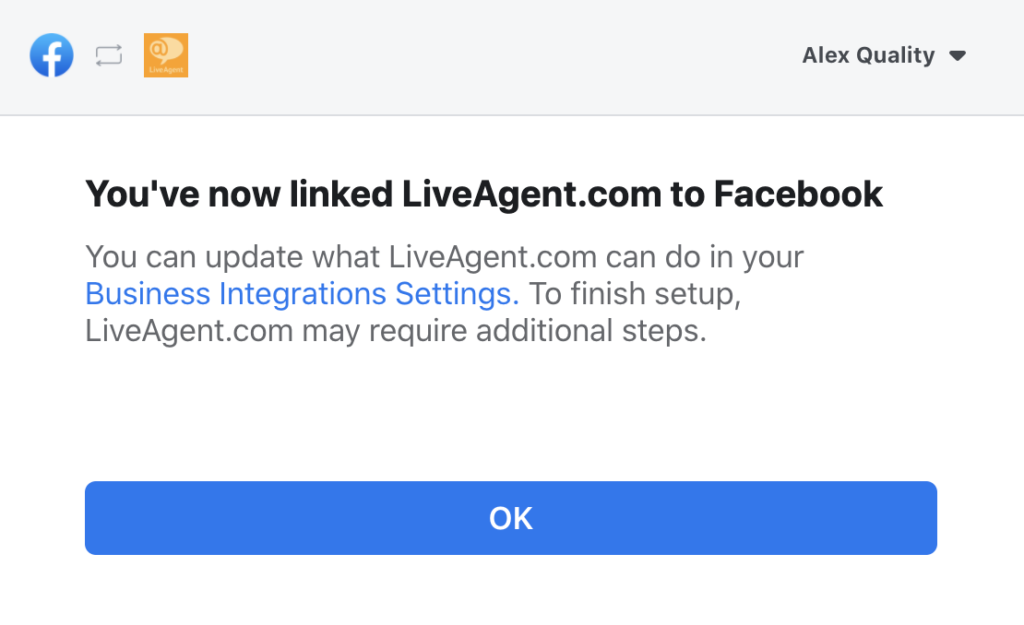 Successfully linked Facebook page with LiveAgent