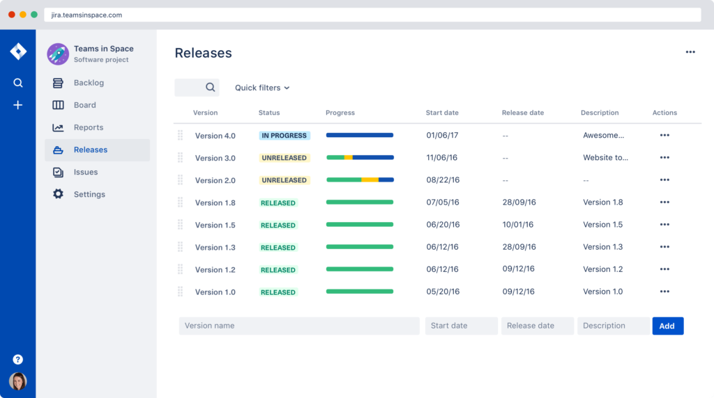 Jira dashboard for planning and tracking