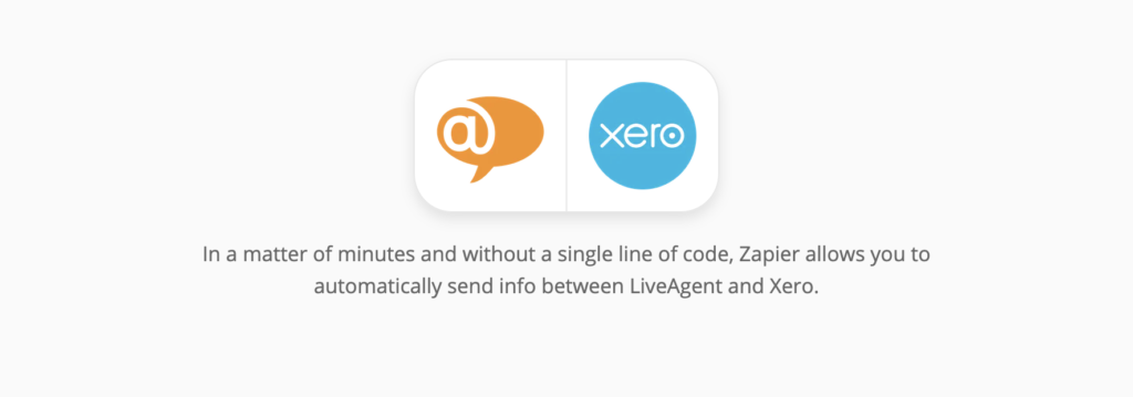 Xero and LiveAgent integration page on Zapier