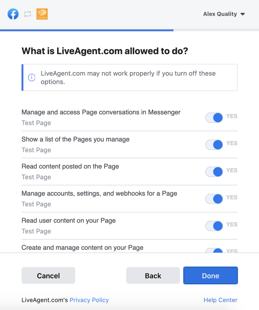 Selecting Facebook permissions