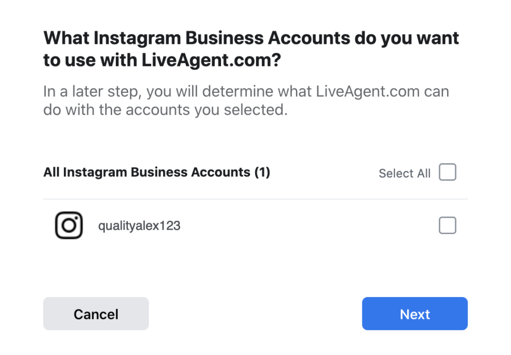 Select Instagram accounts you want to include in the integration